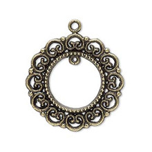 10 Antiqued Brass Plated Pewter Wreath Focal Connector ~ 28mm