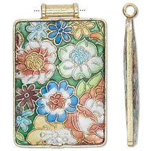 1 Cloisonne Gold Finished Copper Multi Colored Rectangle Pendant  * 52x37mm