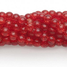 1 Strand Red Crackle Glass 5-6mm Round Beads  *