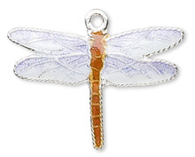 1 Sterling Silver Blue & Brown Cloisonne 20x16mm Dragonfly Charm  *