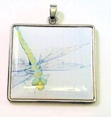 1 Silver Plated Steel & Epoxy Dragonfly Focal Charm Pendant ~ 37x40mm  *