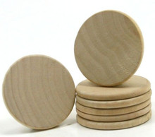 "100 Wooden Circles  1-1/4"" x1/8"" Thick  Hardwood Rounded Beveled Edge"