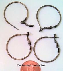 10 Antiqued Brass Plated Leverback Hoop Earrings ~ 25mm *