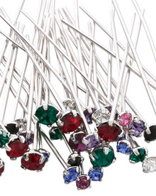 144 Rhodium Plated Brass Headpins with Swarovski Crystals  ~ Mix of Colors