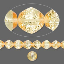 "16"" Strand Wild Honey Amber Crackle Glass Bicone Beads 6mm  *"