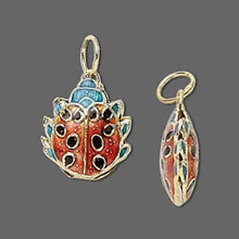 4 Gold Plated Ladybug Cloisonne Charms Pendant ~ 20x16mm  *