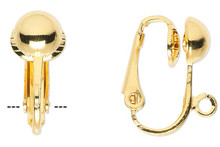 10 OR 100 Gold Plated Steel 16mm Clip On Earrings with Half Ball
