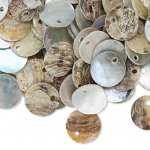 100 Natural Chinese Mussel Shell Coin Drop Charms ~ 10mm