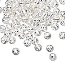 1000 Silver Plated Brass Round Corrugated Beads ~ 5mm