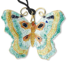 1 Gold Teal Green Orange 49x39mm Butterfly Cloisonne Pendant   *