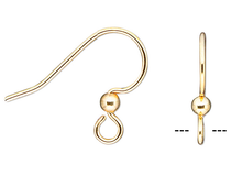 10 OR 50 Gold Plated Surgical Steel Hook with Ball Earwires
