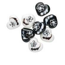8 Lampwork Glass Black & White Hearts with Flowers ~ 14x16mm *
