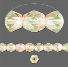 1 Strand Czech Fire Polished Faceted Round Glass Beads ~ 6mm ~ Green Pink
