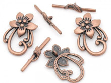 2 Sets Antiqued Copper Plated Pewter Flower Leaf Toggle Clasps  *