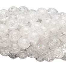 1 Strand Large Clear Crackle Glass 11-12mm Round Beads *