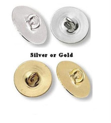 100 Gold OR Silver Plated Metal Button Backs ~ Make Anything a Button