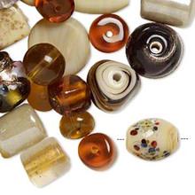 100 grams Fancy Amber Brown Lampwork Glass Bead Mix
