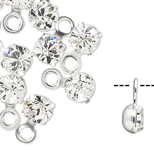 24 Silver Rhodium Plated PP24 Swarovski Crystal Clear 3-3.2mm Round Charms
