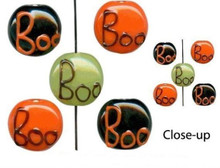 Orange Black Green  Lampwork Glass Halloween BOO Coin Beads Mix  *