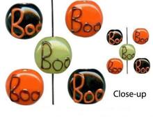"16"" Strand Lampwork Glass Halloween ~ BOO  Coin Bead Mix  *"