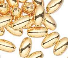 100 Gold Plated Brass Smooth 4.5x2.5mm Oval Beads