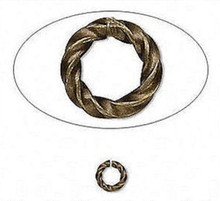 100 Antiqued Gold Plated Brass 6mm Fancy Twisted Round 16 Gauge Jump Rings