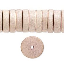 1 Strand Beige Wood 15mm Rondelle Disc Spacer Beads