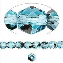 1 Strand Czech Fire Polished Faceted Round Glass Beads ~ 6mm ~ Black Turquoise Blue