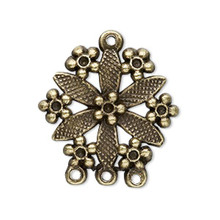 20 Antiqued Brass Pewter Flower Connector   ~  28x24mm  *