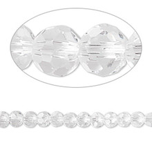 1 Strand Clear 4mm Round Crystal 32 Facets Glass Beads *