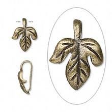 10 Antiqued Brass Maple Leaf Bails ~ 12x10x5mm Leaf  Connectors *