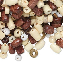 100 gram Wood Bead Multi Assortment ~ Approx 2300 Beads