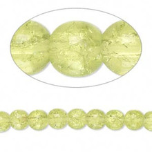 1 Strand Peridot Lime Green Crackle Glass 5-6mm Round Beads *