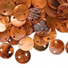100 Orange Mussel Shell Flat Round Coin LINKs ~ 10mm  *