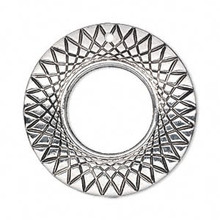 50 Grams Antiqued Silver Metalized Plastic 35mm Round Focal Charms *