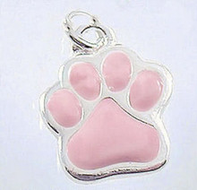 2 Silver Plated Enamel Pink Dog Cat Paw Print Charms ~ 1/2 Inch