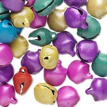 100 Steel Matte Pastel Mixed Jingle Bells  ~ 10mm