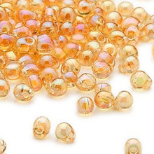 10 Grams Teardrop Fringe Glass Beads ~ Transparent Rainbow Light Amber ~ 4x3.4mm
