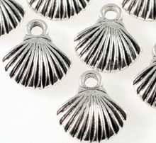 10 Antiqued Silver Plated Pewter 15x14mm Sea Shell Charms