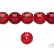 1 Strand Ruby RED Crackle Glass 10mm Round Beads