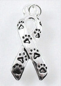 2 Silver Plated Paws Awareness Ribbon Charms  ~ 10x21mm