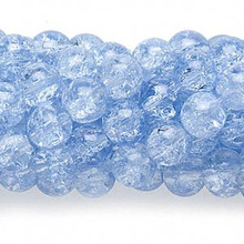 1 Strand Blue Crackle Glass 7-8mm Round Beads *