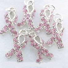 8 Breast Cancer Awareness Rhinestone Pink Ribbon Charms