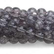 1 Strand Mountain Purple Crackle Glass 8mm Round Beads *