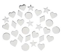 30 Acrylic Craft Mirrors ~ Assortment of Hearts, Circles, Stars & Diamonds