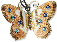 1 Gold Brown White 46x35mm Butterfly Cloisonne Pendant