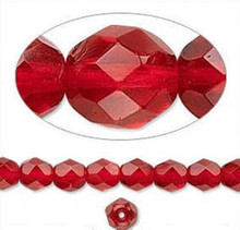 1 Strand Czech Fire Polished Faceted Round Glass Beads ~ 6mm ~  Ruby Red