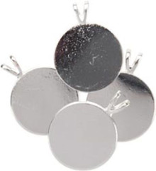 "4 Silver Plated 3/4"" Round Pendant Plates with Bails  *"