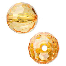 100 Grams Acrylic Amber Orange 20mm Faceted Round Beads