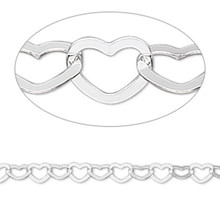 1 Sterling Silver HEART Bracelet ~ 7-1/2 Inches with Lobster Clasp  *